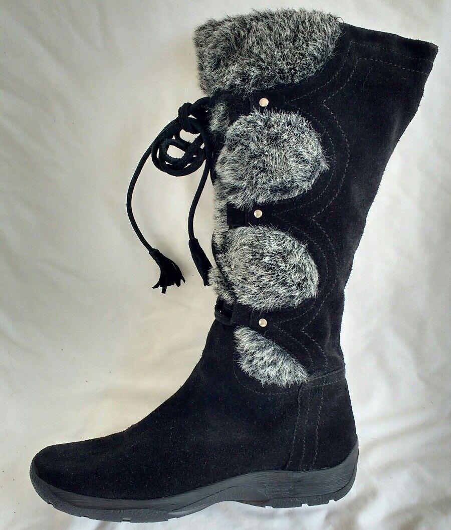 Aerosoles Femme Chaussures En Daim Noir Plates Plates Plates Bottes Hautes Taille 5.5/38.5 5-6 NEUF ff9d72