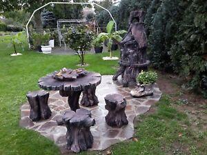 Home & Garden Grill Baumstamm Mit Sitzgarnitur