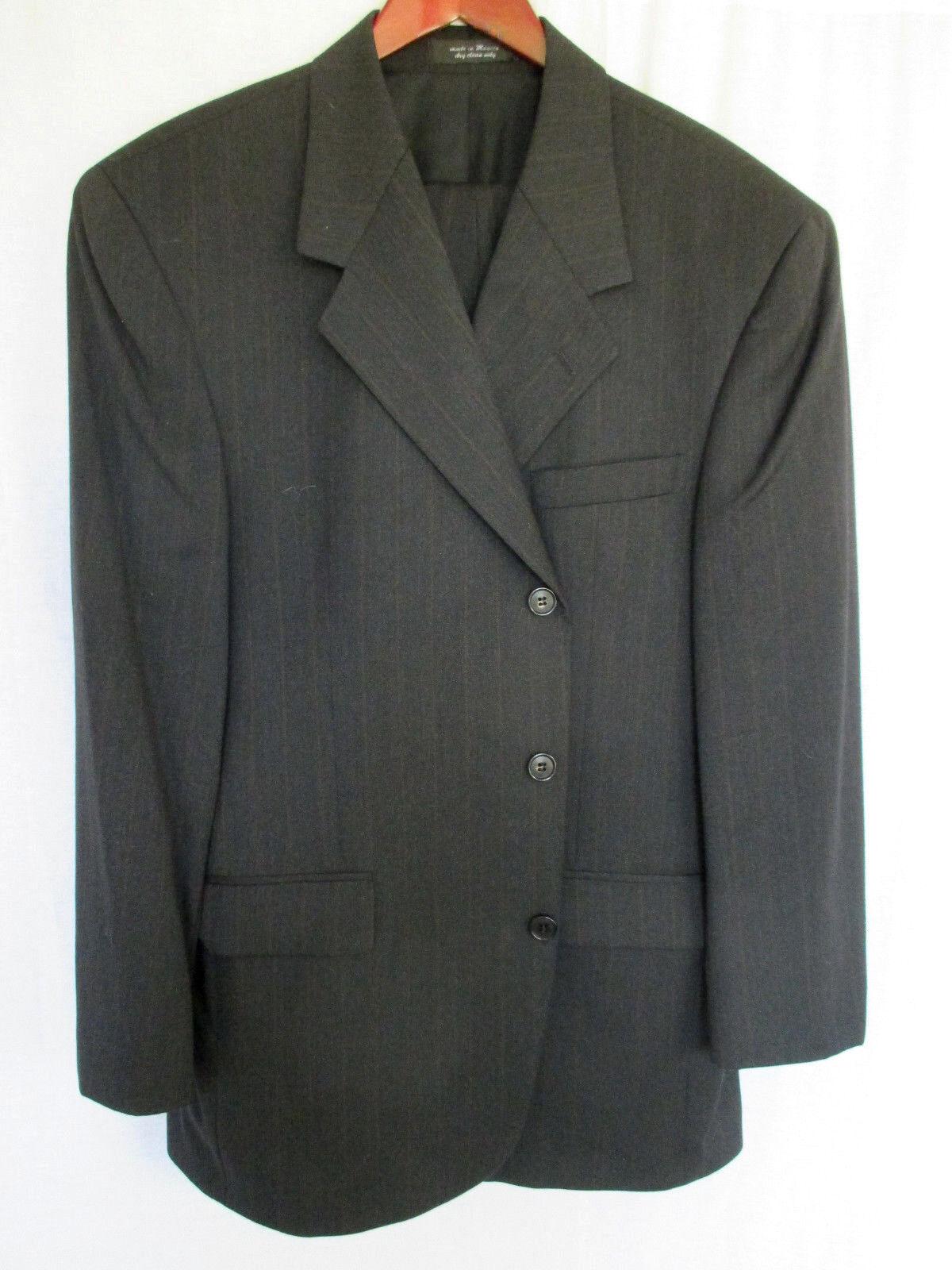Andrew Fezza 44S 42x23  Herren Suit grau Pinstripe Super 100's Cashmere Wool Blend