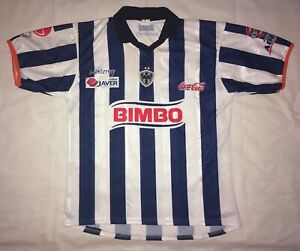 best service f64e1 c0f81 Details about CF Monterrey Mexico Soccer Jersey Blue White Stripes Fits  Men's Large Bimbo
