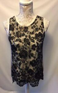 Zara-Woman-Top-Sleeveless-Blouse-Ivory-Black-Size-Large-Lace-Front