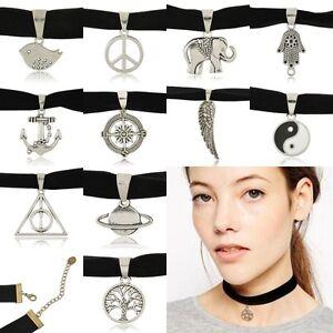 New-Fashion-Vintage-Black-Velvet-Choker-Charm-Necklace-Pendant-Gothic-90-039-s-Punk