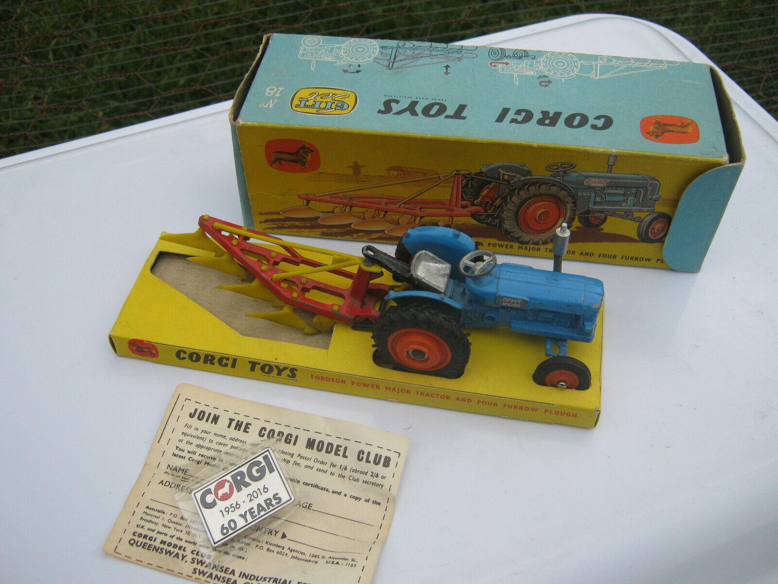 Hay más marcas de productos de alta calidad. Corgi GS18 Fordson Tractor & Arado 1961 problema todo original original original en excelente orden  Obtén lo ultimo