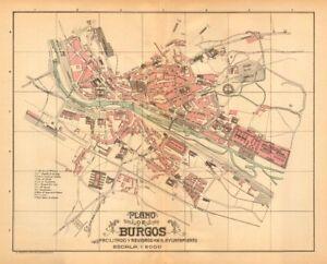 Mapa De Burgos Ciudad.Detalles De Burgos Plano Antiguo De La Cuidad Antiguo Pueblo Ciudad Plan Martin C1911 Mapa Ver Titulo Original
