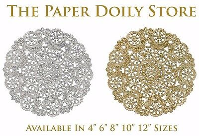 """225-12/"""" GOLD Metallic FOIL Paper DOILIESPlacemat Gold DoilyGold Chargers"""