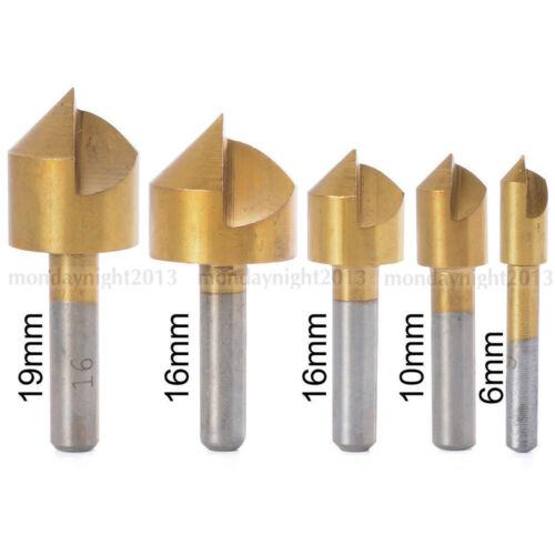 5pc Metric Countersink Drill Bit Single Flute Chamfering Cutter 90°6-19mm