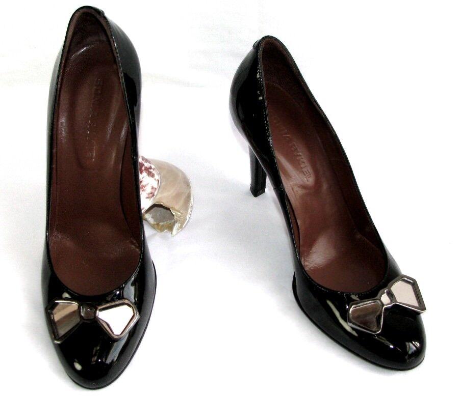 SONIA RYKIEL Escarpins talons 9 cm tout cuir verni noir 37 EXCELLENT ETAT