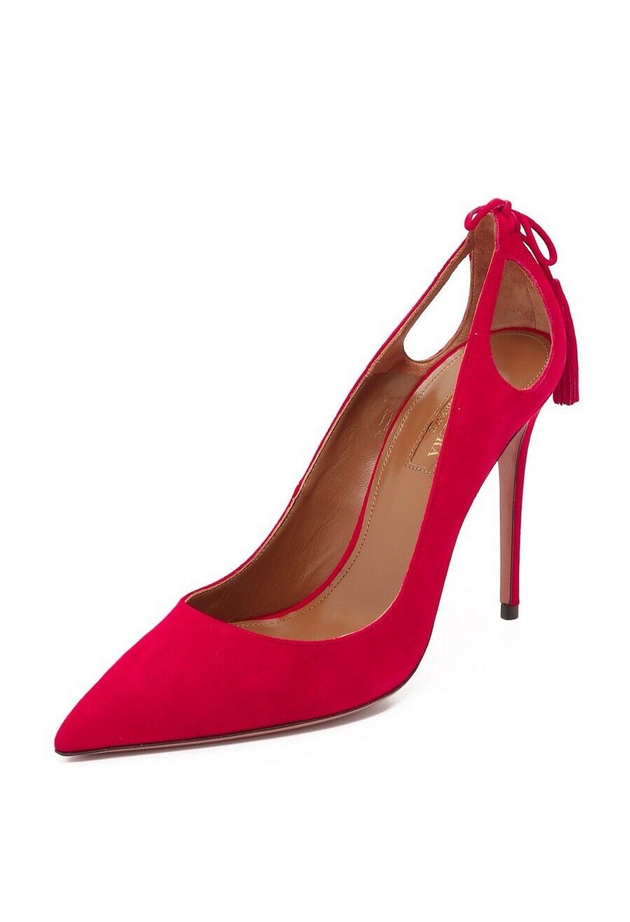 New Aquazzura Forever Marilyn Lipstick ROT Suede Suede ROT Tassel Pumps Size 39/9 $750.00 78a899