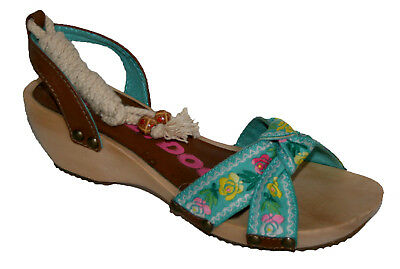 Ladies Rocket Dog Flower Embroidered Strap Clog Sandal with Rope Fasten 4 x 7