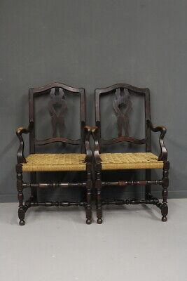 Unparteiisch Paar Sessel / Antike/a Kettenrad/gewebt/old-time Fine '800 SorgfäLtige FäRbeprozesse