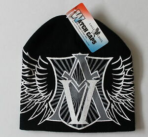 97ad481c62af55 American Valor Wings AV Knit Winter Hat Beanie Black Military ...