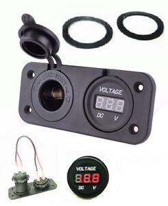 Waterproof-Socket-Power-Outlet-Volt-Meter-Panel-Mount-Marine-12-24-V-Voltmeter
