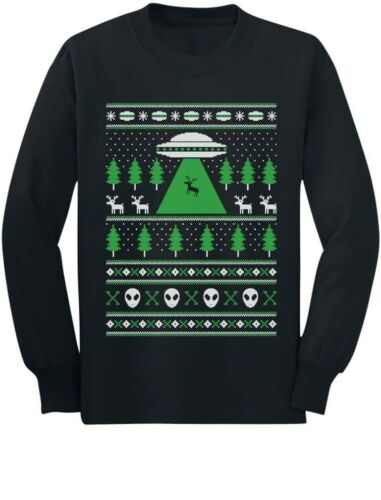 Alien Reindeer Abduction Ugly Christmas Sweater Youth Kids Long Sleeve T-Shirt