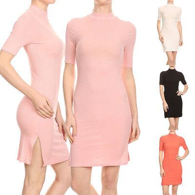 Sexy Solid Micro Rib Knit Mock Neck Bodycon Cocktail Clubbing Stretch Mini Dress