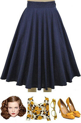 50s Style NAVY BLUE & White SWISS DOT Polka Dot High Waisted FULL PINUP Skirt