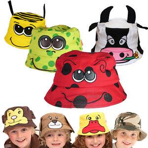 Kids-Beach-Bush-Hat-Sun-Protection-Child-Boys-Girls-Baby-Fun-Funky-Animal-Cotton