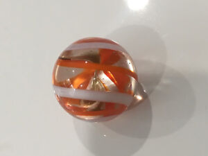 Konstruktiv Unbekannt Alter Geblasen Glas Pistole Marble Orange Weißgold Wirbel Ruf Zuerst Antiquitäten & Kunst Antikspielzeug
