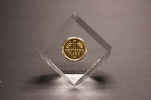 1 Dm Münze Vergoldet In Acryl Würfel Gegossen Nostalgische