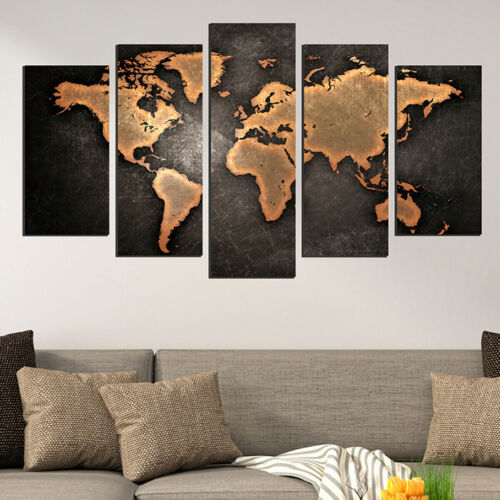 Wall art decoration set of 5pcs Print Picture Old map Canvas PVC Size S//L