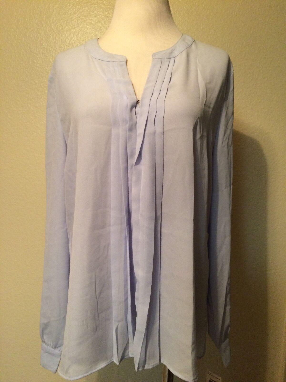 Maison Jules Pleat Front Long Sleeve blouse  bluee  L
