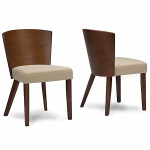 2-039-WALNUT-039-TONE-BROWN-DINING-CHAIRS-MID-CENTURY-WOOD-CONVEX-BACK-AND-TAN-FABRIC