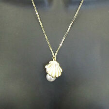 Gold Sea Shell White Pearl Necklace Mermaid's Locket Ariel Beach Festival 1AH