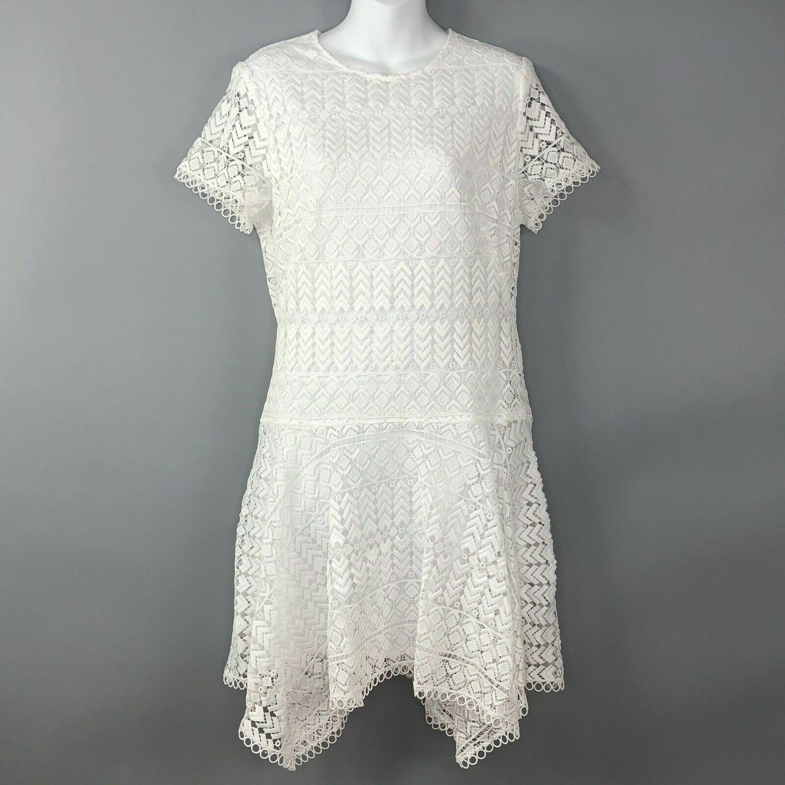 Anthropologie Shoshanna damen Dress Größe 10 Short Sleeve Weiß Lace Anika Hanky