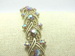 Vintage-Coro-Aurora-Borealis-Rhinestone-Bracelet-1960-039-s-7-034-3-4-034-Wide