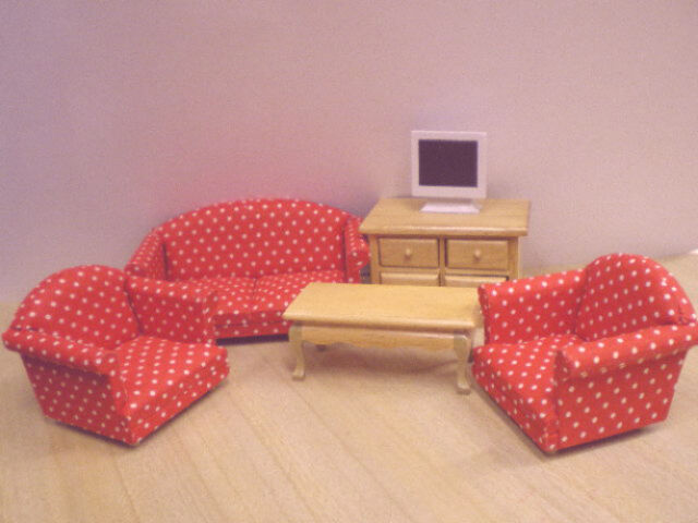 Dolls House Furniture Set : Sofa, Two Armchairs, Coffee Table, Cabinet, TV