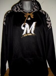 new concept 4eae0 9ad81 Details about New Black Authentic Majestic MLB Milwaukee Brewers Hooded  Sweatshirt Tall Size