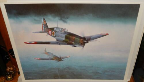 KOIKE SHIGEO MORANE SAULNIER MS406C1 FIGHTER FRANCE LITHOGRAPH
