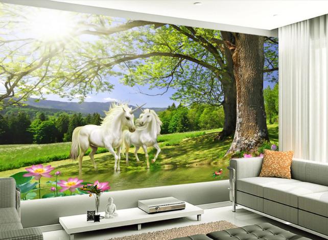 3D Tree Sun Unicorn 8 Wallpaper Mural Paper Wall Print Wallpaper Murals UK Carly