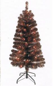 NEW 4 Foot Artificial Christmas Tree Black and Orange ...