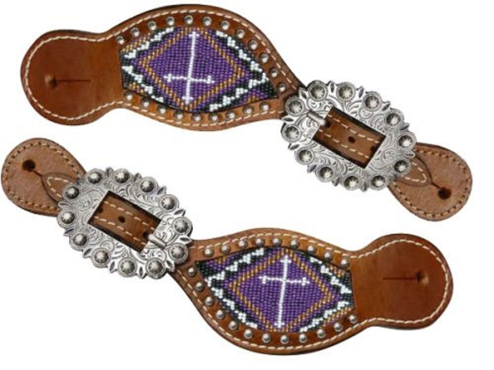 Showman PURPLE Beaded Cross Medium Oil Leather Spur Straps Adult Youth Ladies