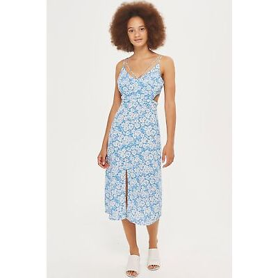TOPSHOP PETITE Floral Slip Dress Blue Size 4 6 8 10 12 14 rrp £39