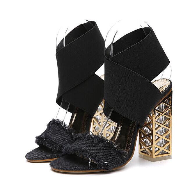 Holzschuhe hausschuhe 12 cm elegant schwarz absatz quadrat sandalen simil leder