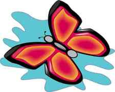 5x4 Blue Splash Pink Butterfly Sticker Vinyl Car Truck Window Bumper Cup Decal