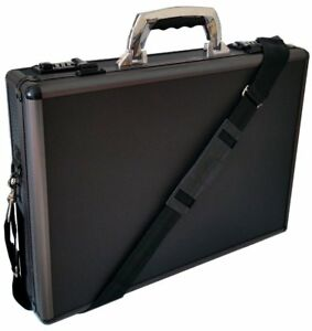 aluminium black laptop padded briefcase attache case hard carry flight bag 6931 ebay. Black Bedroom Furniture Sets. Home Design Ideas