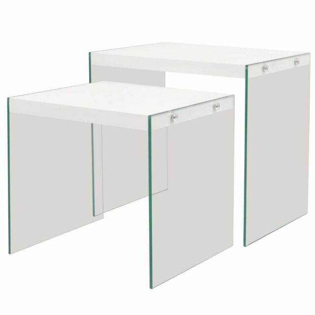 Vidaxl End Table Set 2 Pieces Gl Mdf High Gloss White Side Home Lamp Stand