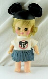 1971-Walt-Disney-Musketeer-Club-Cute-8-034-Girl-Doll-With-Outfit-amp-Ears-Hat