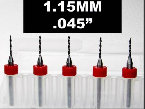 "Carbide Drill Bits 1//8 Shank FIVE Pcs CNC Dremel Model Hobby RS .045/"" 1.15mm"