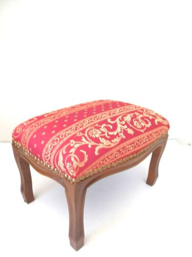 NEW Pouffe footrest stool wooden and fabric style Classico 22 cm x 33 cm