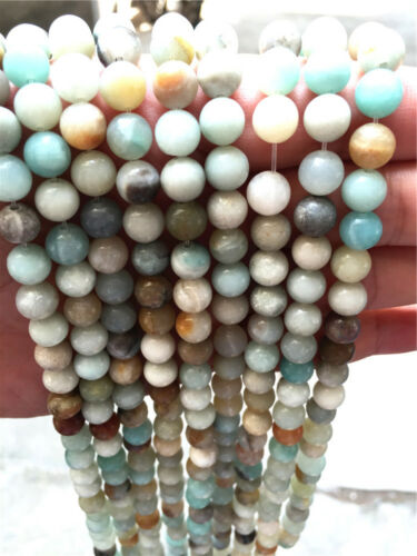Newest Diy 4//6//8//10//12mm Natural Stone Amazonite Color Round Beads fit bracelet