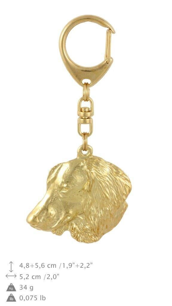 Dachshund - Gold coverot keyring with dog, high quality, keychain Art Dog