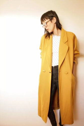 Vintage Wool Maxi Coat Mustard Yellow