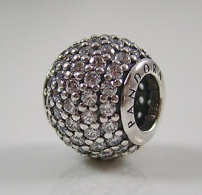 Authentic Genuine Pandora Silver Clear Pave Set Charm Bead 791051CZ