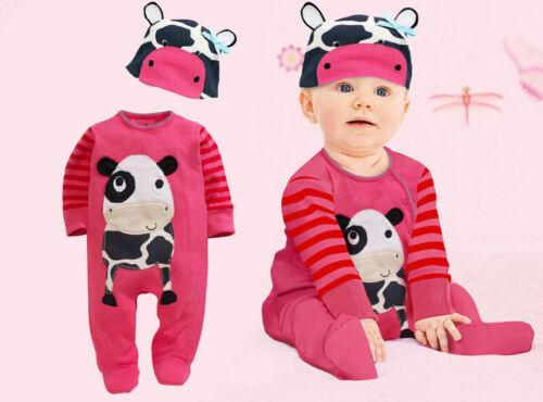 BABY Boy Girl Animal Fun Long Sleeve Romper 2 PIECE SET Size 3m.6m.12m.18m