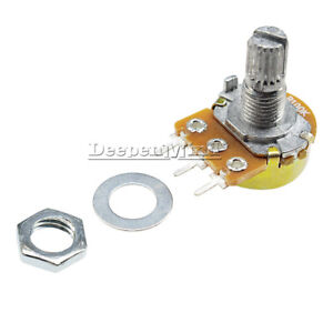 2PCS-100K-Ohm-B100K-Knurled-Shaft-Linear-Rotary-Taper-Potentiometer-15MM-3-Pins