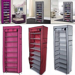US-10-Tier-Shoe-Rack-Cabinet-30-Pairs-with-Cover-Wall-Bench-Shelf-Shoe-Tower-New