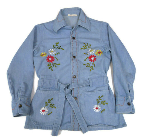 Vintage Light Blue Sanforized Denim Floral Jean Ja